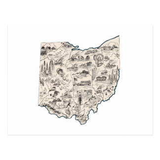 Ohio Vintage Picture Map Postcard