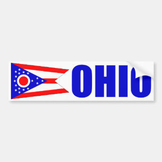 Ohio with State Flag Bumper Sticker