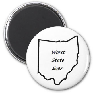 Ohio Worst State Ever 2 Inch Round Magnet