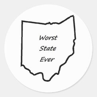 Ohio Worst State Ever Classic Round Sticker