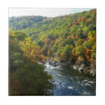 Ohiopyle River in Fall II Pennsylvania Autumn Ceramic Tile