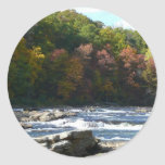 Ohiopyle River Rapids in Fall Pennsylvania Autumn Classic Round Sticker