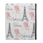 Ohlala Cute Paris Poodle and Eiffel Tower Pattern iPad Folio Case