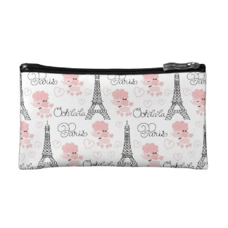 Ohlala Cute Paris Poodle and Eiffel Tower Pattern Cosmetic Bag