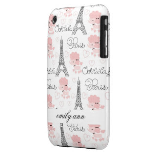 Ohlala Cute Paris Poodle and Eiffel Tower Pattern iPhone 3 Case