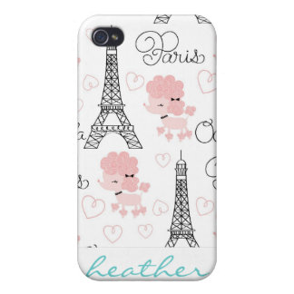 Ohlala Cute Paris Poodle and Eiffel Tower Pattern iPhone 4 Case