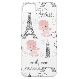 Ohlala Cute Paris Poodle and Eiffel Tower Pattern iPhone SE/5/5s Case
