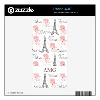Ohlala Cute Paris Poodle and Eiffel Tower Pattern Skin For The iPhone 4
