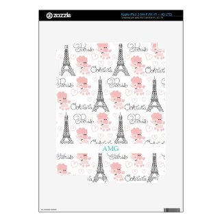 Ohlala Cute Paris Poodle and Eiffel Tower Pattern Decal For iPad 3