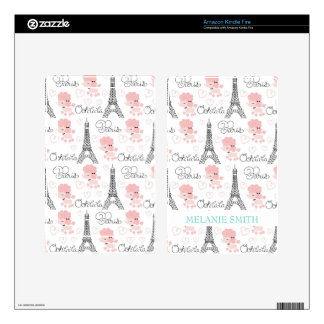 Ohlala Cute Paris Poodle and Eiffel Tower Pattern Decals For Kindle Fire