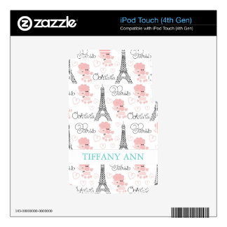 Ohlala Cute Paris Poodle and Eiffel Tower Pattern iPod Touch 4G Skin