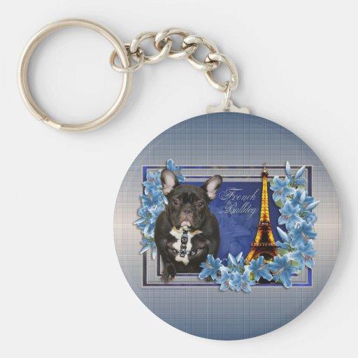 OhLaLa French Bulldog Basic Round Button Keychain