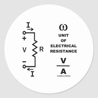 Ohm A Unit Of Electrical Resistance (Physics) Classic Round Sticker