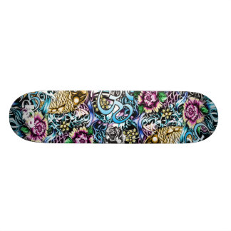 Ohm and Koi Japanese style art Skate deck