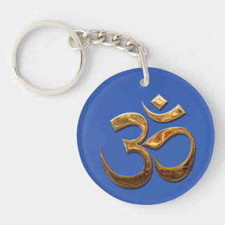 Ohm in gold Double-Sided round acrylic keychain