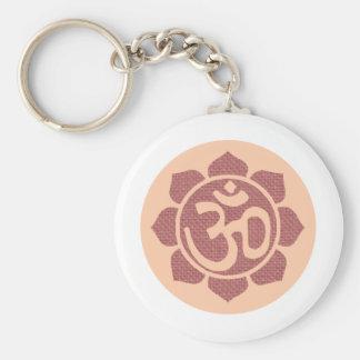 ohm lotus symbol basic round button keychain