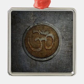 Ohm Sign On Metallic Distressed Background Metal Ornament