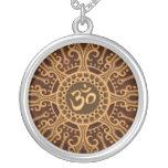 Ohm Star (golden brown) Round Pendant Necklace