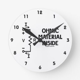 Ohmic Material Inside (Ohm's Law) Round Clock