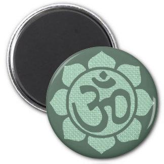 ohmio de la flor de loto imán redondo 5 cm