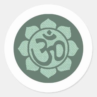 ohmio de la flor de loto pegatina redonda