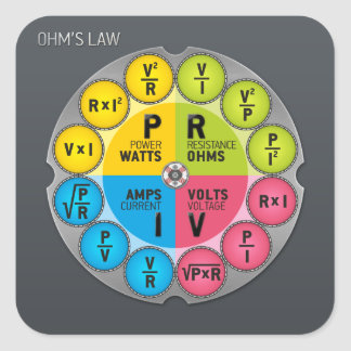 Ohm's Law Circle Square Sticker