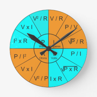 Ohm's Law Wheel Round Clock