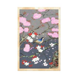 Ohno Bakufu Cherry Blossoms bluebird shin hanga Gallery Wrapped Canvas