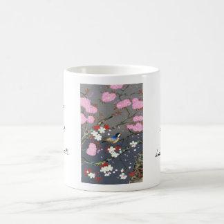Ohno Bakufu Cherry Blossoms bluebird shin hanga Classic White Coffee Mug