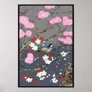 Ohno Bakufu Cherry Blossoms bluebird shin hanga Poster