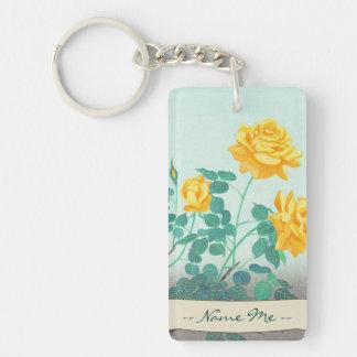 Ohno Bakufu Yellow Rose flowers fine art japanese Double-Sided Rectangular Acrylic Keychain