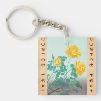 Ohno Bakufu Yellow Rose flowers fine art japanese Double-Sided Square Acrylic Keychain