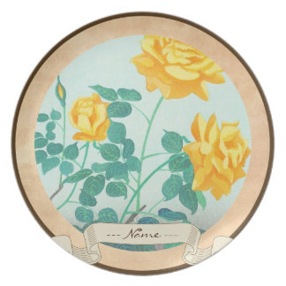 Ohno Bakufu Yellow Rose flowers fine art japanese Melamine Plate