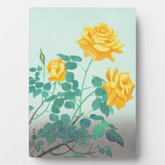 Ohno Bakufu Yellow Rose flowers fine art japanese Plaque