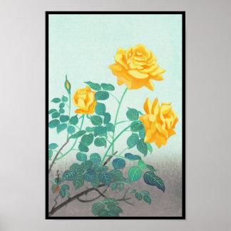 Ohno Bakufu Yellow Rose flowers fine art japanese Posters