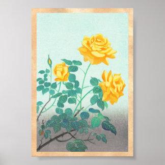 Ohno Bakufu Yellow Rose flowers fine art japanese Poster