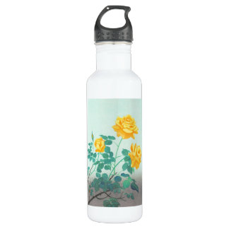 Ohno Bakufu Yellow Rose flowers fine art japanese Stainless Steel Water Bottle