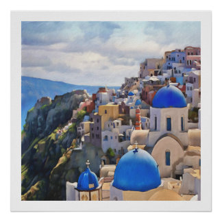 Oia, Santorini. Greece. Oil Painting. Poster