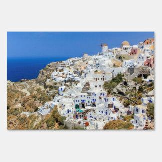 Oia village on Santorini island, north, Greece Lawn Sign