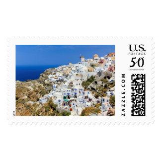 Oia village on Santorini island, north, Greece Postage