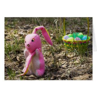Oído perdido del conejito de pascua, tarjeta de felicitación