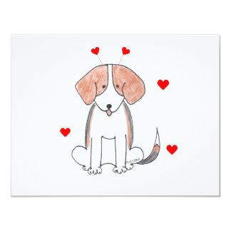 """Oídos de la tarjeta del día de San Valentín del Invitación 4.25"""" X 5.5"""""""