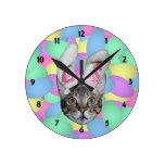 Oídos del conejito del gato de Pascua Reloj