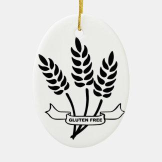 Oídos del trigo adorno navideño ovalado de cerámica