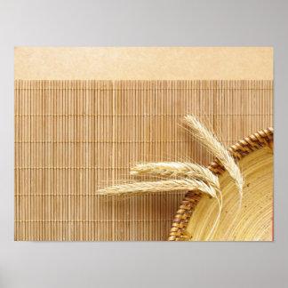 Oídos del trigo en la placa de madera póster