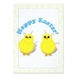 Oídos felices de los polluelos W/Bunny de Pascua Invitación 12,7 X 17,8 Cm