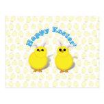 Oídos felices de los polluelos W/Bunny de Pascua Postal