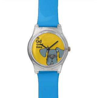Oídos naturales azules de great dane - la tabla reloj de mano