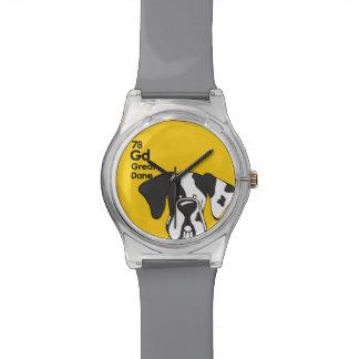 Oídos naturales de Harelequin great dane - la Reloj De Mano