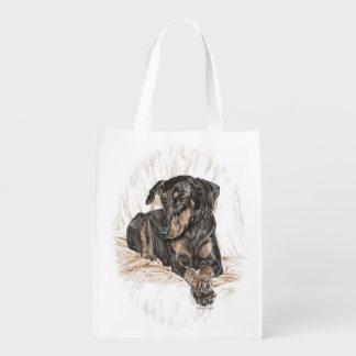 Oídos naturales del perro del Doberman Bolsa Para La Compra